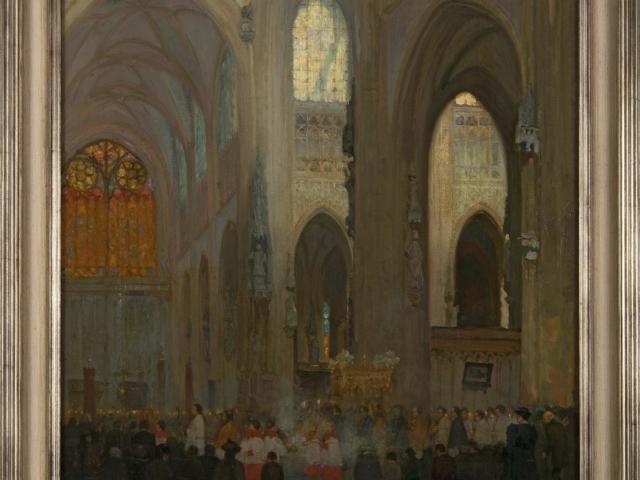 Frans Slager - Sacramentsprocessie in de Sint-Jan olieverf op doek, gesigneerd en gedateerd 1894
