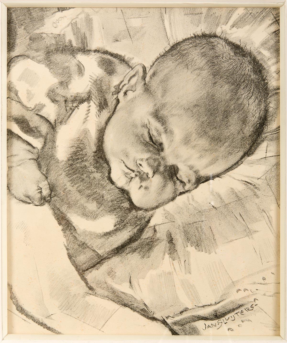 Jan Sluijters (1881-1957), Slapende baby tekening houtskool/potlood, gesigneerd