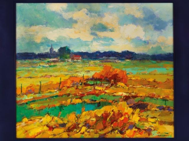 Frans Manders (1939) Zomers landschap in de Meijerij olieverf op board, gesigneerd