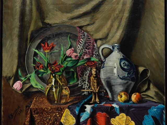 Kees Bastiaans (1909– 1986) Stilleven met tinnen schotel en harlekijn olieverf op doek; gesigneerd en gedateerd 1933