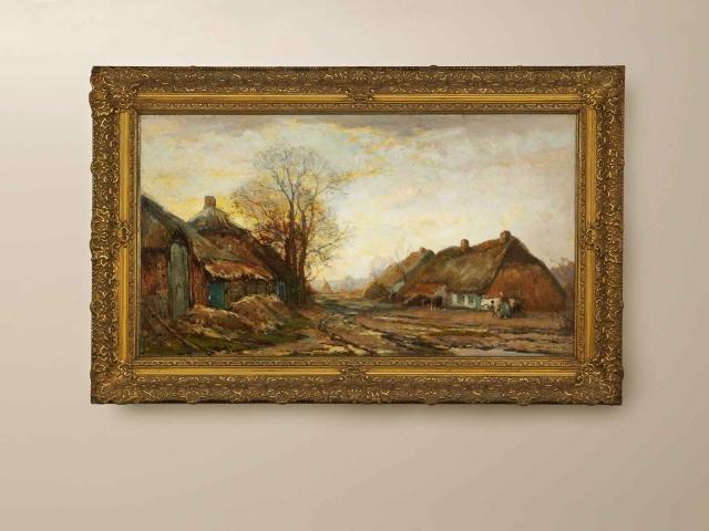 """(verkocht!) Frans Slager """"Boerderij in Brabant""""; olieverf op doek"""