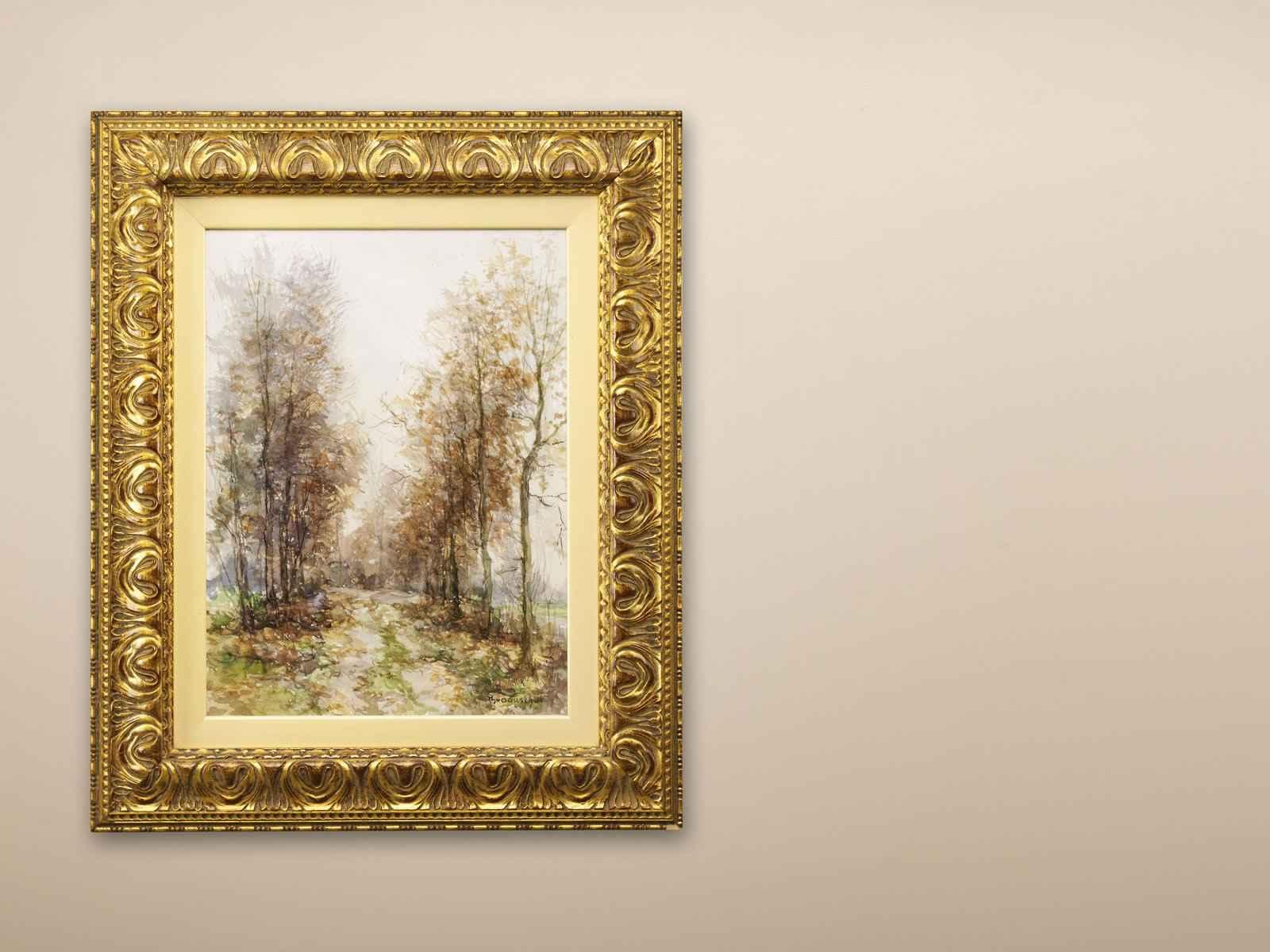 """Dorus van Oorschot """"Populierenlaantje bij Sint Oedenrode ; aquarel"""
