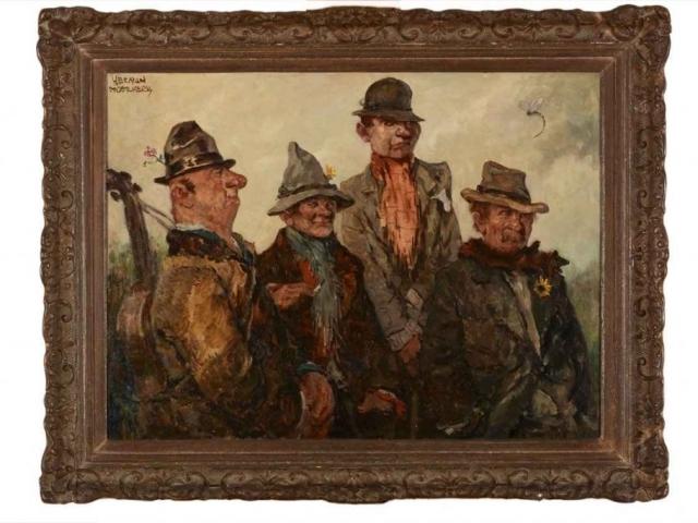 """Herman Moerkerk """"Vier vagebonden""""; olieverf op doek"""