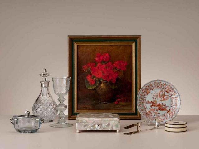 """Emanuel van der Ven """"Geraniums"""";  olieverf op doek"""