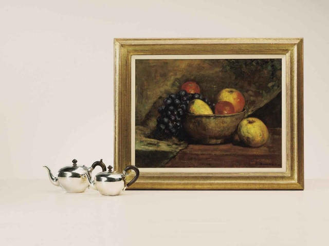 """Emanuel van der Ven """"Stilleven met fruit""""; olieverf op doek"""