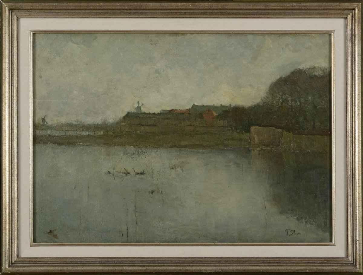 """Frans Slager """"Stadswal 's-Hertogenbosch bij avondschemering""""; olieverf op doek"""