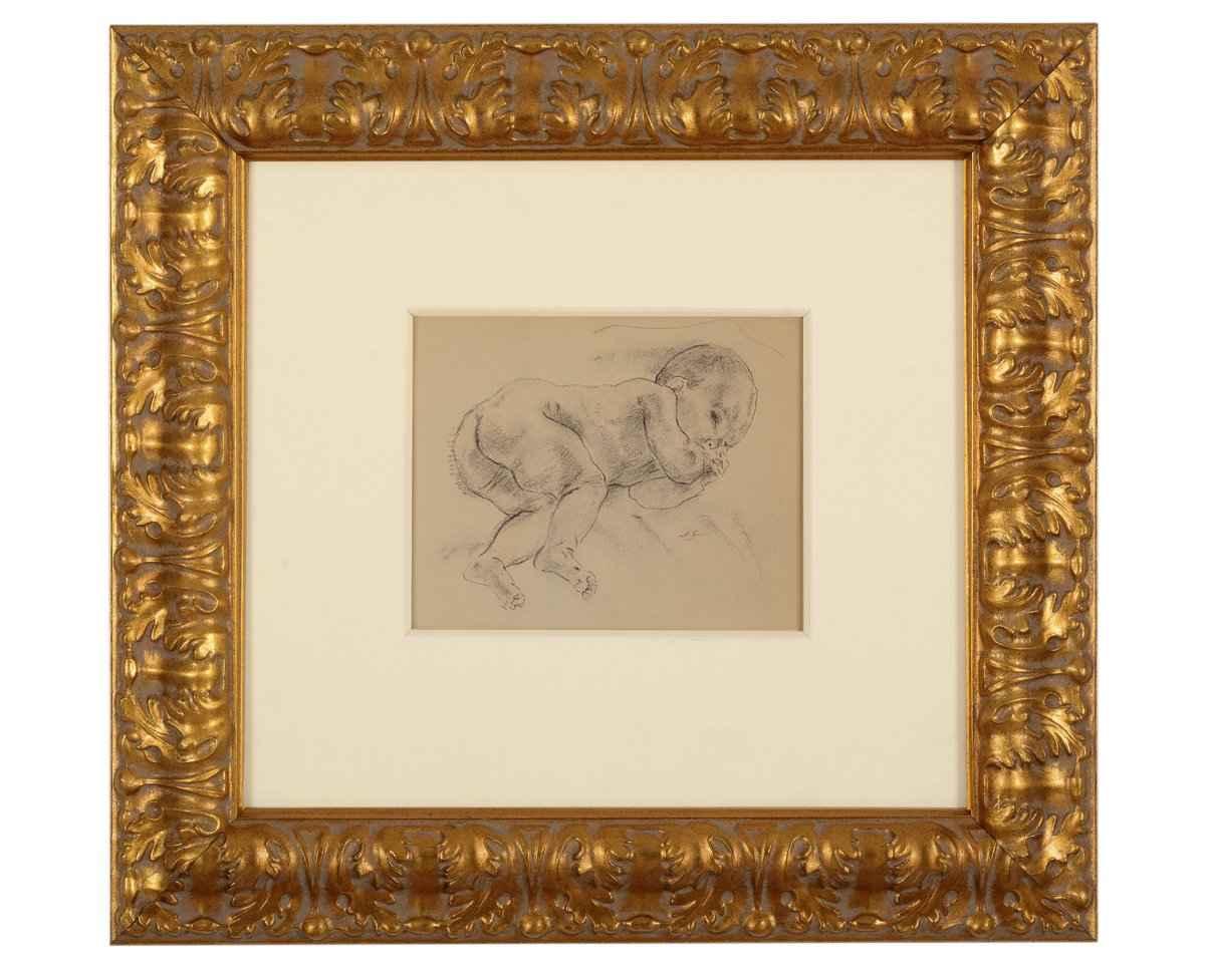 """Jan Sluijters """" Duimzuigende baby"""" ; tekening"""
