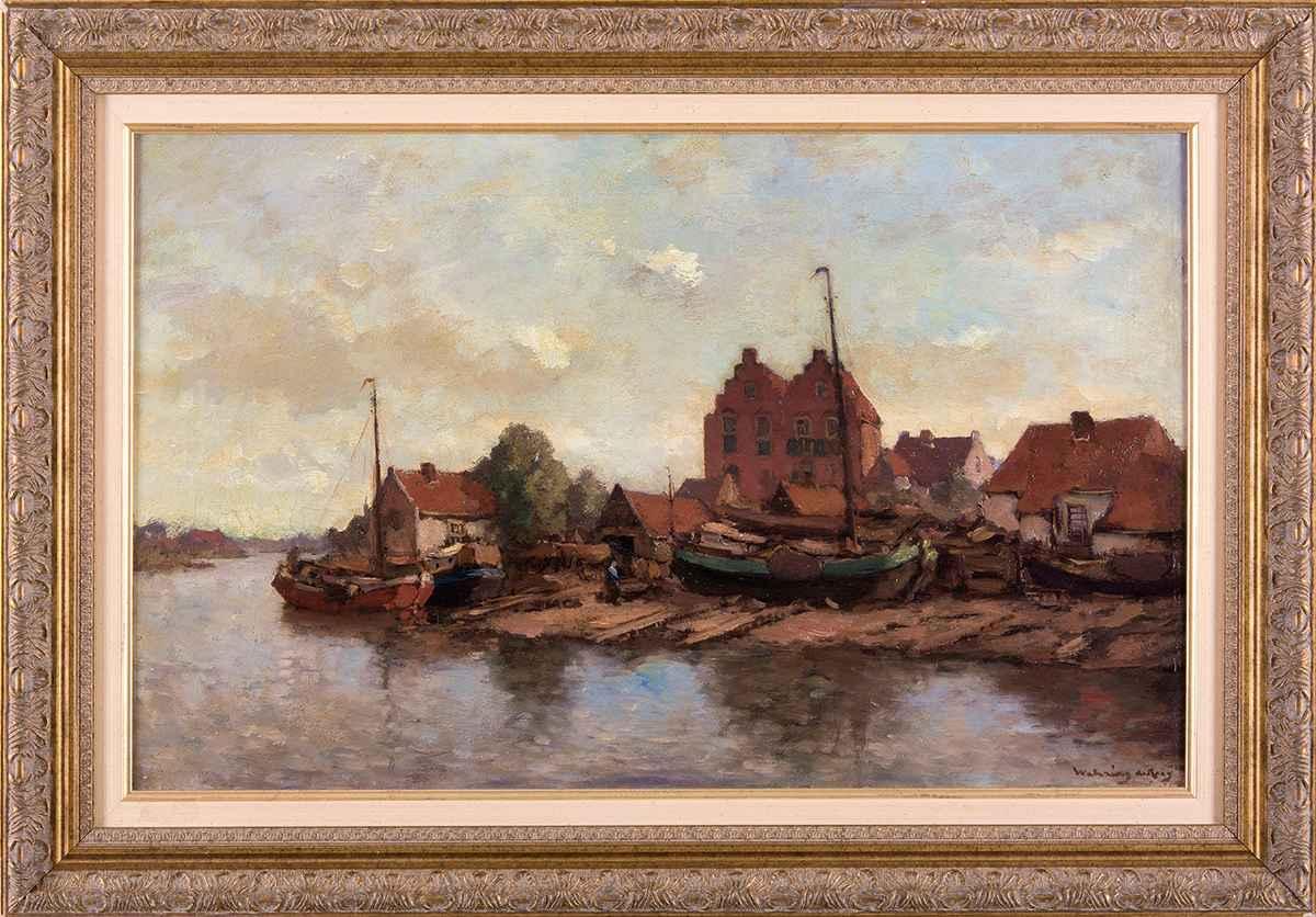 """Ambrosius van de Wetering de Rooy """"Riviergezicht""""; olieverf op doek"""